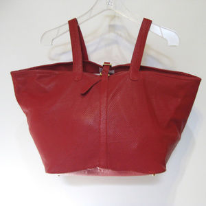 MELI MELO Red Perforated Leather Hobo Tote Handbag